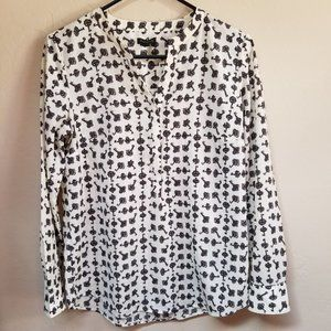 Talbots Top Long Sleeve Popover Blouse